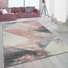 paco home teppich wohnzimmer grau weiß rosa pastell dreieck muster vintage design kurzflor grösse 120x170 cm