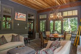 Appalachian Branch Chandelier Steals The Show In This Rustic Sunroom Design SML Contracting
