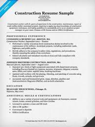 Construction Resume Examples 19 Example