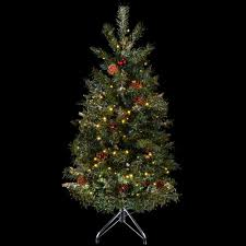 4ft Christmas Tree With Lights by 4ft 122cm Green Decorated Prelit Artificial Festive Christmas