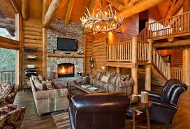 Beautiful Rustic Livingroom Wall Mount Tv Features Leather Club Chairs Paired Exposed Beams Vaulted