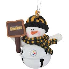 Pittsburgh Steelers Snowman Bell With Sign Ornament