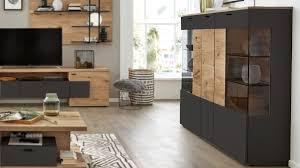 interliving wohnzimmer serie 2104 highboard anthrazitfarbene lackoberflächen balkeneiche drei türen