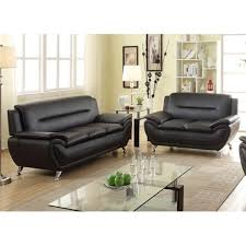 100 Modern Living Room Couches Shop Alice Black Faux Leather 2Piece Sofa And