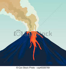 Crater Mountain Volcano Hot Natural Eruption Smoke Fire Vector