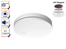 10 jahres rauchmelder flach mit magnethalter für küche schlafzimmer treppenhaus