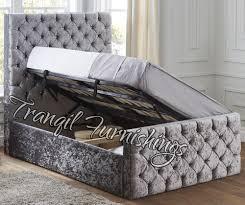 Velvet Headboard King Size by Paco Storage Side Opening Ottoman Bed Upholstered In Velvet Double