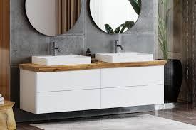 finja unterschrank weiß waschtischplatte aus eiche mit baumkante 4 schubladen spa ambiente