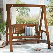 Langley Street Arianna Hardwood Hanging Porch Swing with Stand