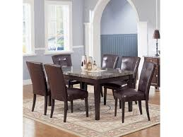 Seven Piece Dining Room Set by Acme Furniture 7058 Danville Black Marble Top Seven Piece Dining