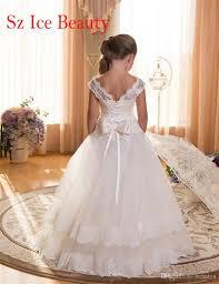 2017 white floor length flower girls dress weddings cap