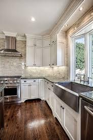 Hardwood Laminate Flooring For Kitchen White Cabinets Floors And That Backsplash