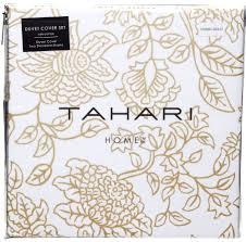 Tahari Home Bedding by Tahari Antique Metallic Gold White Bohemian 3pc Duvet Cover Set