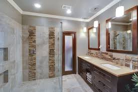 contemporary master bathroom with wall mounted shower by