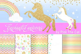Unicorn Clipart Rainbow Glitter Gold Illustrations Creative Market
