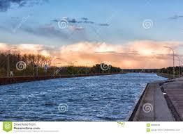 100 Magdeburg Water Bridge Across River ElbeHavel Canal In Sunset