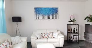 gemälde blau bäume blau weiss acrylgemälde 140x70cm