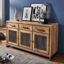 sideboard 145 x 83 x 45 cm mango massivholz metall vintage anrichte kommode 3 schubladen und türen hoher kommodenschrank holz massiv