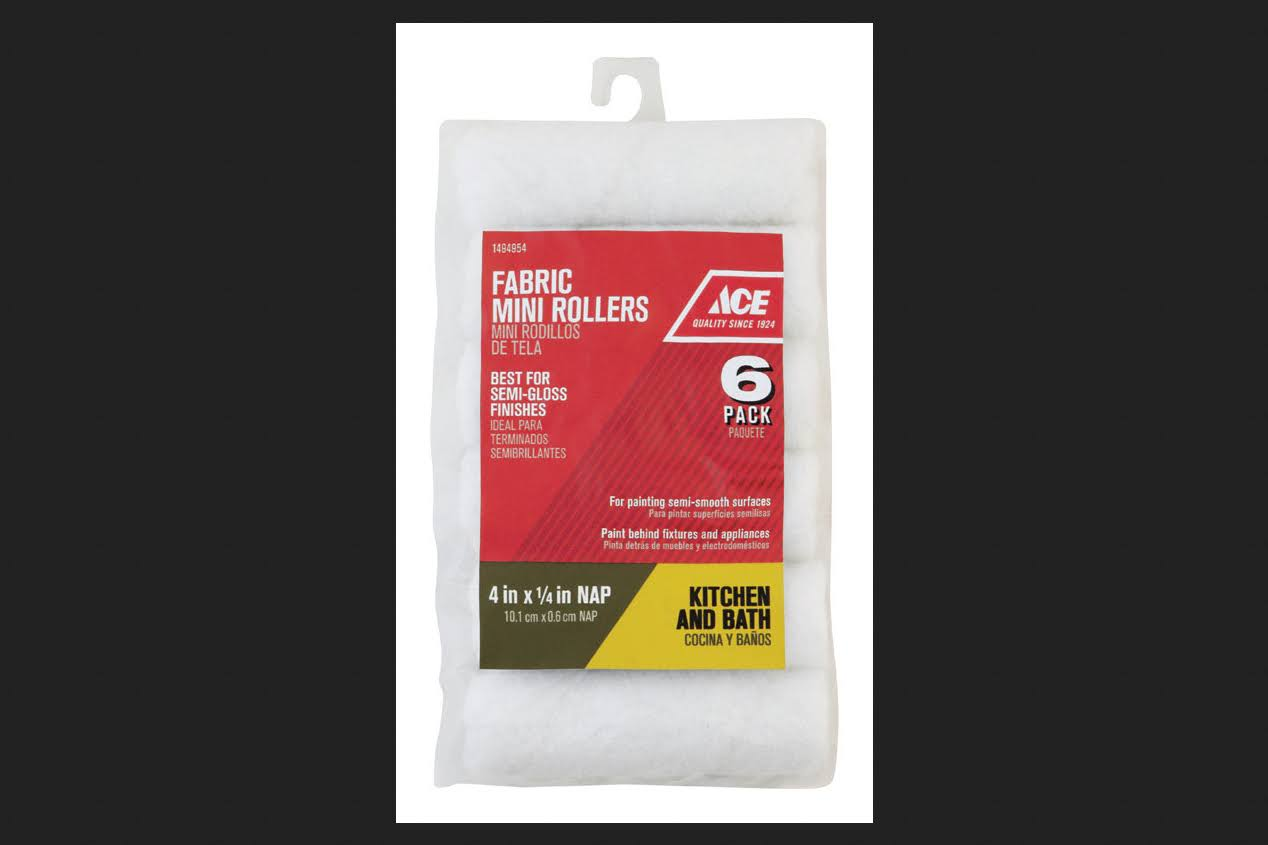 "Ace Fabric Mini Rollers - 6 Pack, 1/4""x4"""