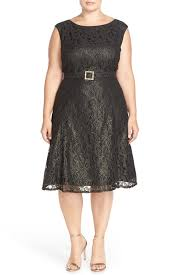 adrianna papell embellished tea length metallic lace dress plus