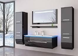 atlantis badmöbel set komplett schwarz hochglanz l