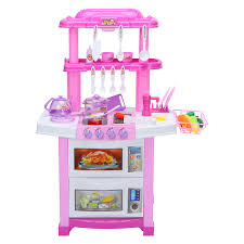 Buy Pretend Kitchen Play Set For Kids 43 Pcs Pink Cooking Bake Food