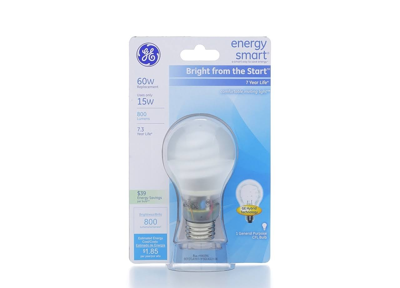 GE A19 Compact Fluorescent Bulb - Soft White, 15W