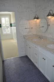 navy hex tiles cottage bathroom jacksonbuilt custom homes