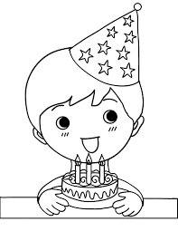 Boy Holding Three Balloons And Present Coloring Pages Birthday