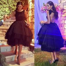 2017 black india short prom dresses elegant crew neck backless