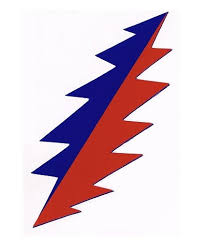 Lightning Bolt Sticker Grateful Dead 13 Point Blue And Red Custom 5