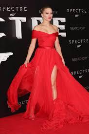 lea seydou off the shoulder red carpet dress spectre premiere