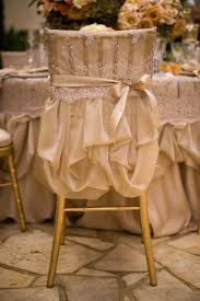 Gold wedding chair cover looks like a little dress for your chair