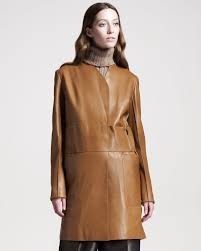 the row womens long leather coat in brown lyst