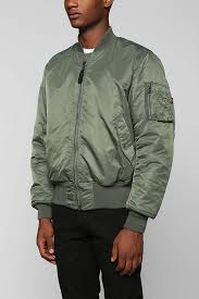 urban outfitters alpha industries ma1 bomber jacket in green for