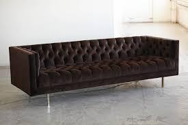 modern deeply button tufted velvet tuxedo sofa in chocolate brown