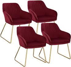 woltu esszimmerstühle bh246bd 4 4er set küchenstühle wohnzimmerstuhl polsterstuhl design stuhl mit armlehne gestell aus metall gold beine samt