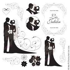 Wedding Silhouette Clipart Bride And Groom Illustration Jpeg