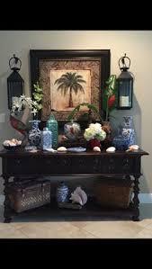 Palm Tree Decor Blue And White Pottery Coastal