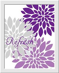 Purple Bathroom Wall Art Lavender Gray Flower Bursts Dahlias Floral Prints Girls Room Decor Home Bath