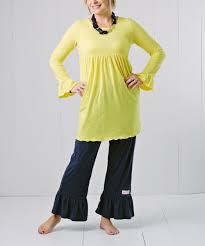 ruffle yellow dress u0026 navy ruffle pants women u0026 plus zulily