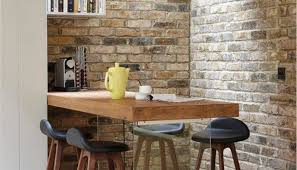 Breakfast Bar Wall Dining Room Rustic With Pub Table Shelves
