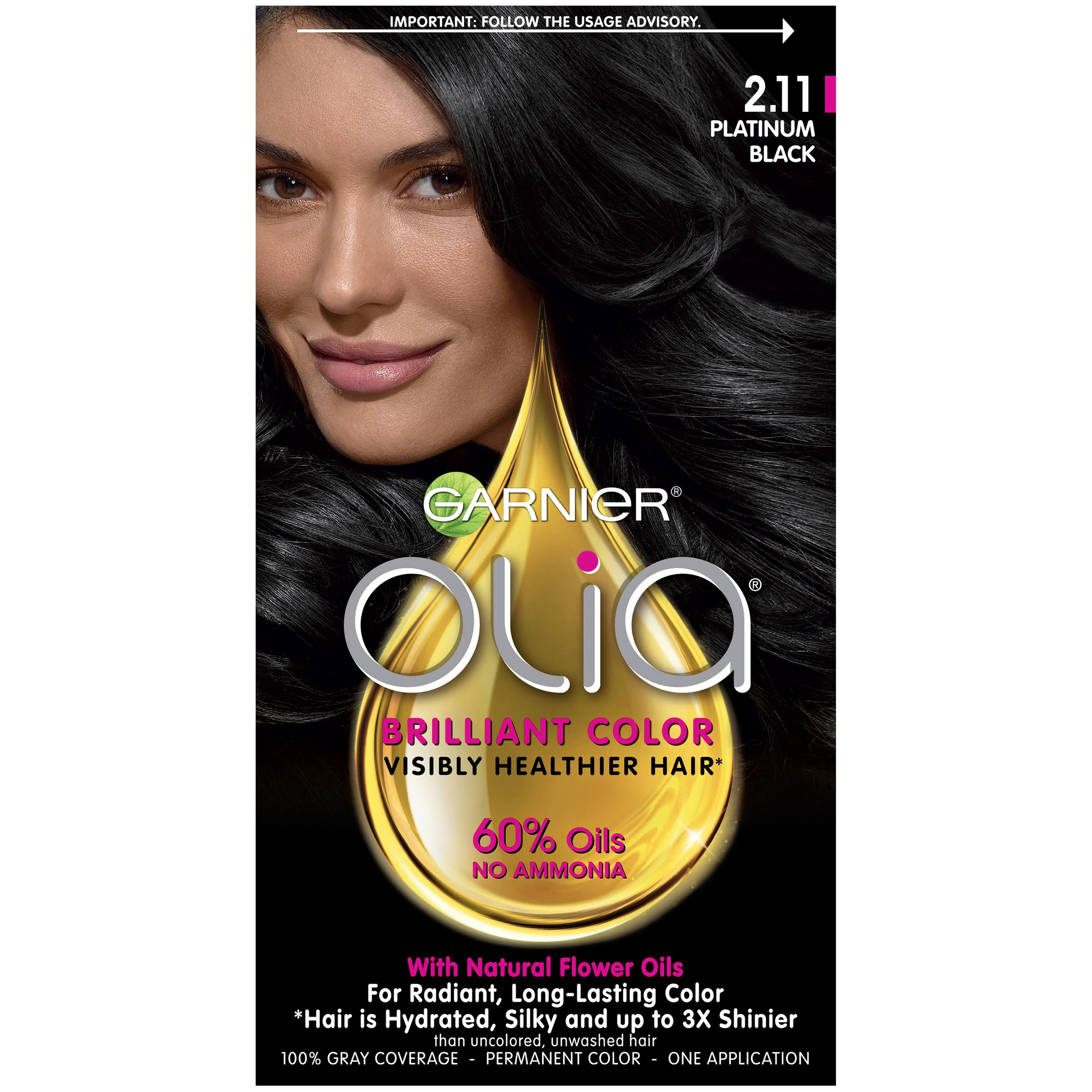 Garnier Olia Oil Powered Permanent Hair Color - 2.11 Platinum Black