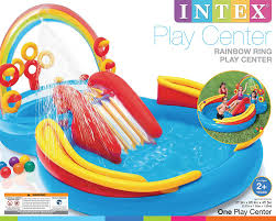 Inflatable Bath For Toddlers by Amazon Com Intex Inflatable Kids Rainbow Ring Water Play Center
