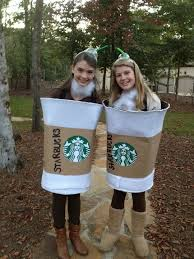 DIY Starbucks Halloween Costume Its A Laundry Hamper Covered In White Felt And Brown Craft Paper Wrapped Around It With Print
