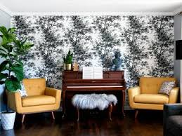 Eclectic Living Room With Piano And Black White Floral Wallpaper