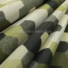 Grey Geometric Pattern Curtains by Hannah Geometric Pattern Lime Green Grey White Colour Printed