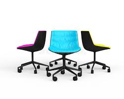 pink blue and yellow modern office chairs stock photo image