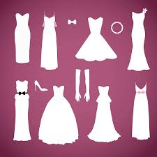 Different styles wedding dresses collection vector vector art illustration