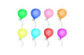 Balloon Clipart Multi Colored Balloons Birthday Balloons Digital Clipart PNG JPG Hand Drawn Limited mercial from 641Digital on Etsy Studio
